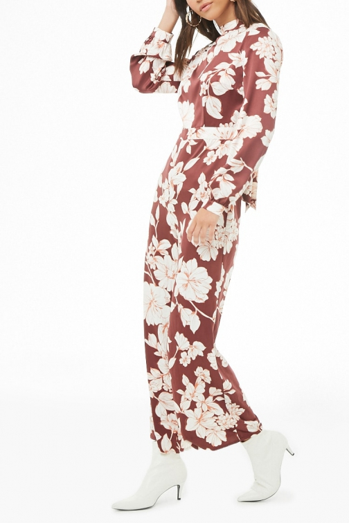 Love21 Satin Floral Print Wide-Leg At Forever 21 , Burgundy/cream Jumpsuit