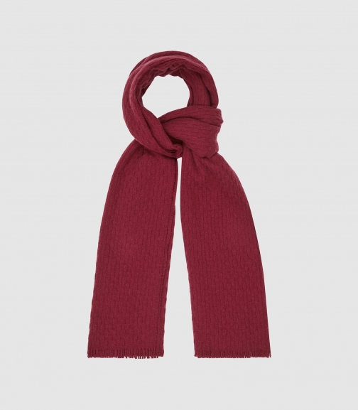 Reiss Aimee - Oversized Textured Cherry, Womens Scarf