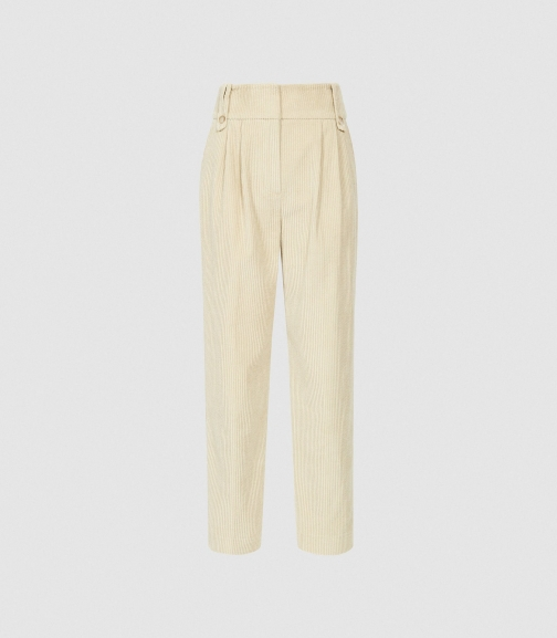 Reiss Aster - Pleat Front Corduroy Trousers Neutral, Womens, Size 4 Trouser
