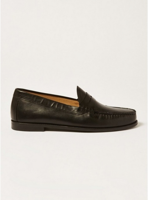 Topman Mens Black Leather Rally Penny , Black Loafer
