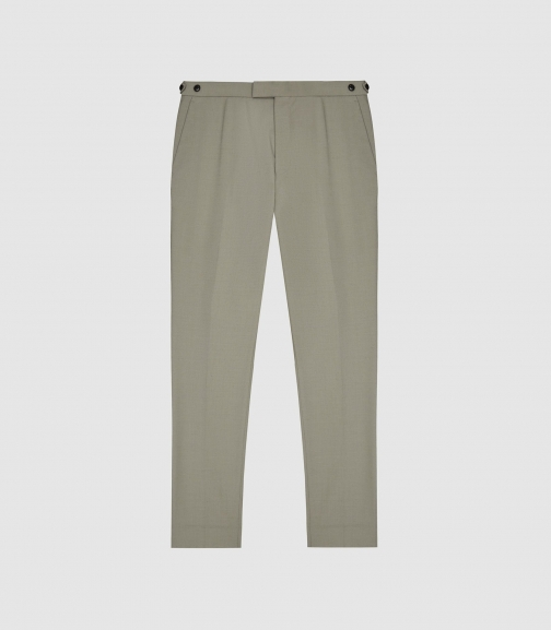 Reiss Fantasy - Wool-blend Slim-fit Trousers Pistachio, Mens, Size 28 Trouser