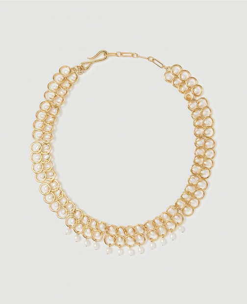 Ann Taylor Pearlized Circle Statement Necklace