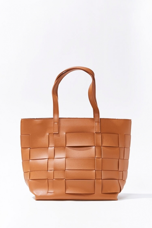 Forever21 Basketwoven Bag At Forever 21 , Brown Tote