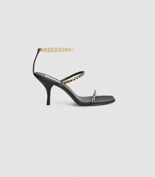 Reiss Magda Chain - Satin Strappy Black, Womens, Size 3 Heeled Sandals