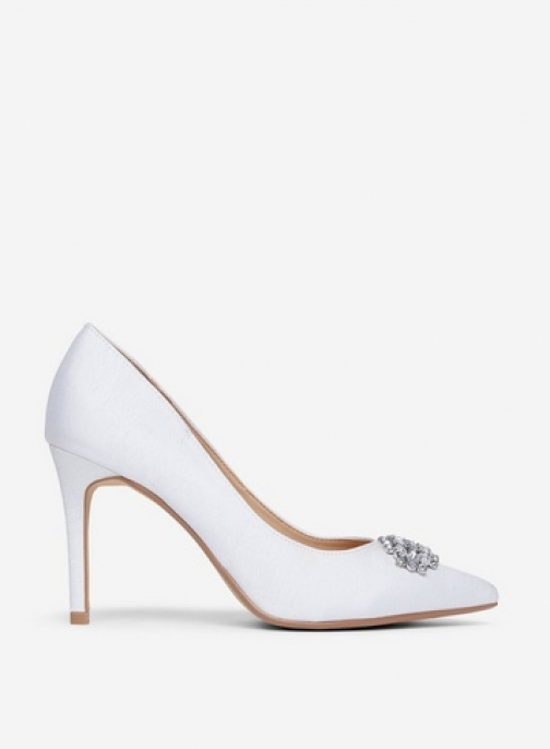 Showcase Wide Fit White 'Gracias' Jewelled Shoes Court