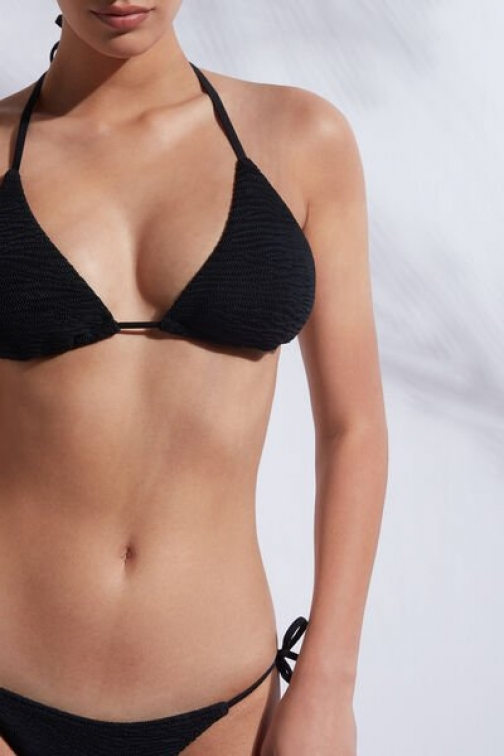 Calzedonia Triangle String Top Miami Woman Black Size 2 Swimsuit