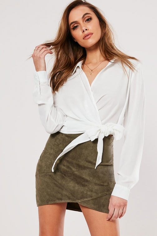 Missguided Faux Suede At Forever 21 Khaki Mini Skirt