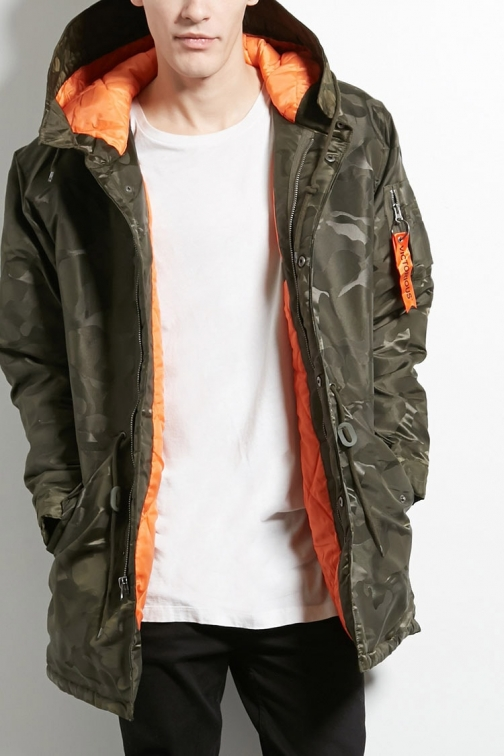 21 Men Victorious Hooded Camo At Forever 21 , Olive Jacket