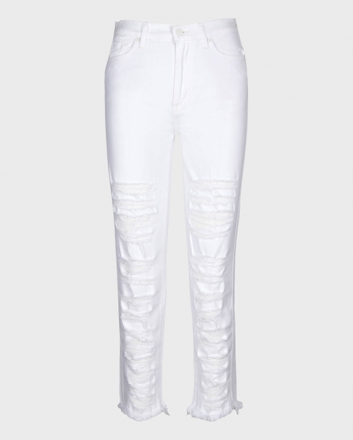 7 For All Mankind Womens High Waist Cropped Straight With Shredded Destroy Prince Size: 24 Trouser