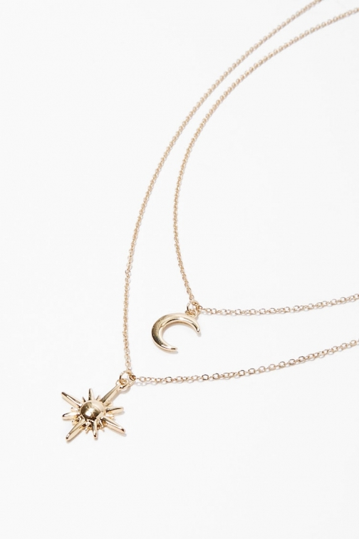 Forever21 Forever 21 Sun & Moon Pendant Necklace Set , Gold Jewellery