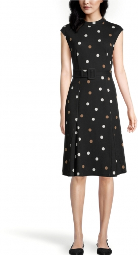 Ann Taylor Factory Petite Dotted Belted Mock Neck Dress