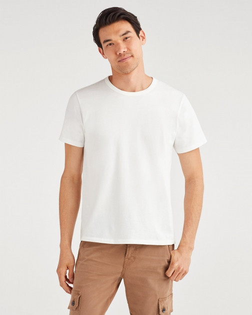 7 For All Mankind Men's Commons Jeansman Graphic Tee Vintage White T-Shirt