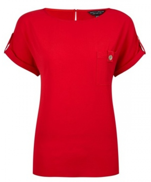 Dorothy Perkins Red Button Pocket T-Shirt