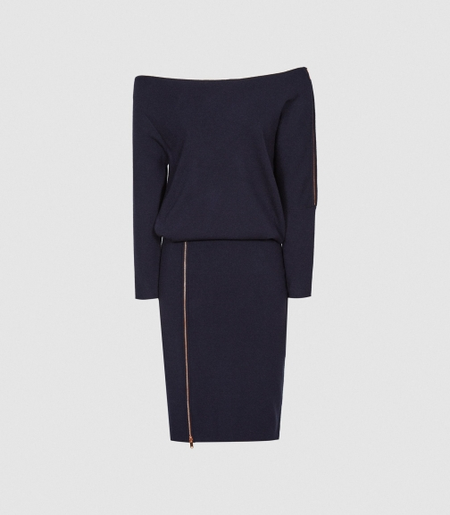 Reiss Cecilia - Off-the-shoulder Zip Detail Navy, Womens, Size XS Dress