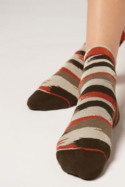 Calzedonia Faded Patterned Ankle Woman Brown Size TU Sock