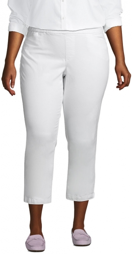 Lands' End Women's Plus Size Mid Rise Pull On Crop Pants - Lands' End - White - 16W Chino
