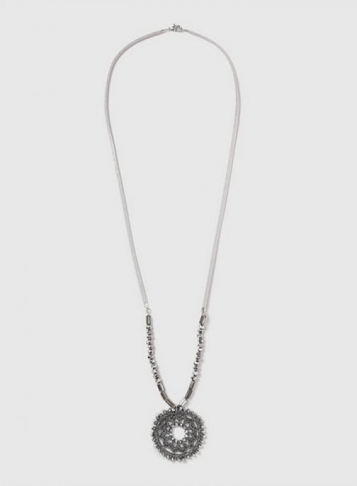 Dorothy Perkins Womens Grey Bead Long Necklace- Grey, Grey Pendant