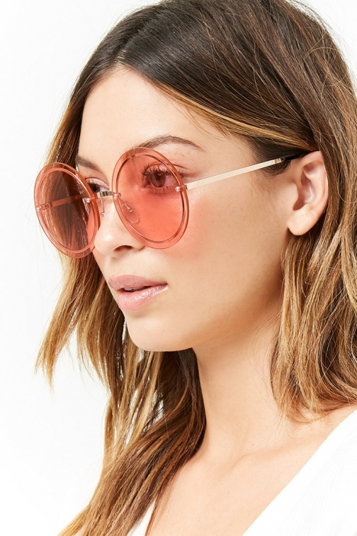 Forever21 Forever 21 Rimless Round , Gold/pink Sunglasses
