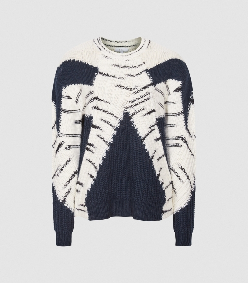Reiss Tiffany - Colour Block Knitted Navy, Womens, Size XS Jumper