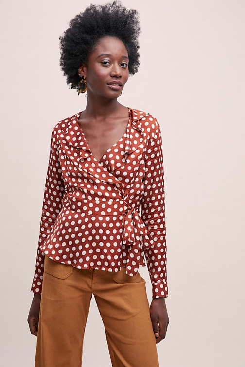 Second Female Paulette Spot-Print Wrap Blouse
