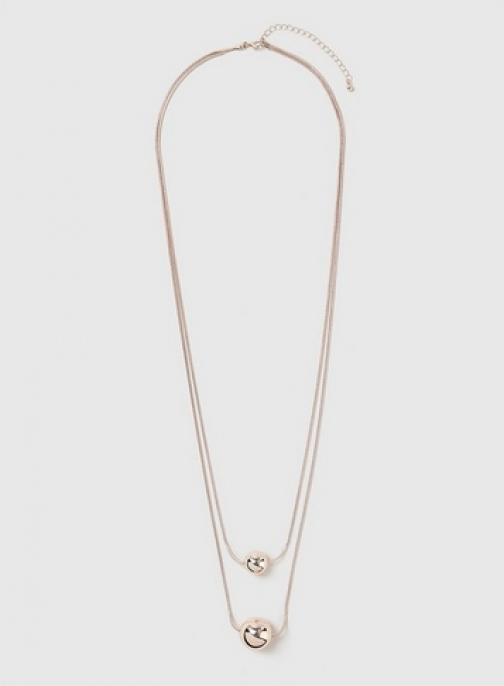 Dorothy Perkins Womens Ball 2 Row - Rose Gold, Rose Gold Necklace