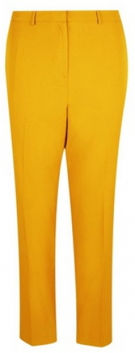 Dorothy Perkins Dp Curve Yellow Elastic Back Ankle Grazer Trousers Trouser