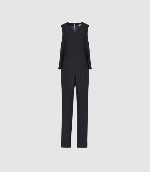 Reiss Marty - V Neck Navy, Womens, Size 4 Jumpsuit
