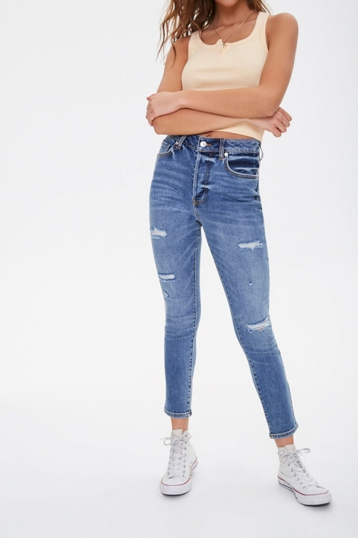 Forever21 Forever 21 The Westwood Distressed Mom , Denim Jeans