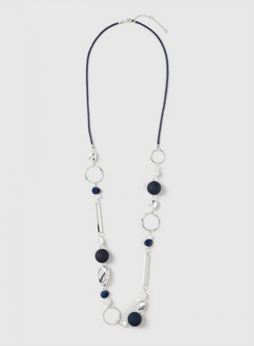 Dorothy Perkins Navy Mixed Bead Necklace