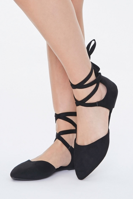 Forever21 Forever 21 Pointed Lace-Up , Black Flats