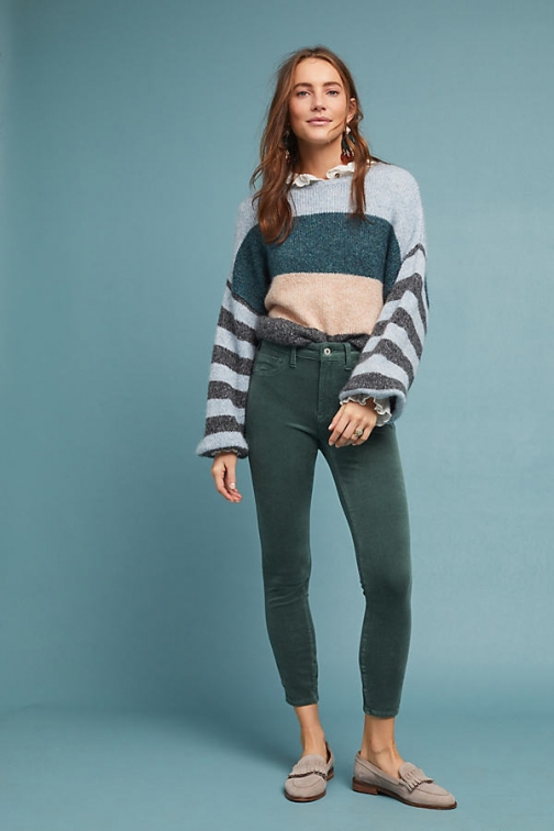 Anthropologie Pilcro Corduroy High-Rise Skinny Ankle - Green, Size Jeans