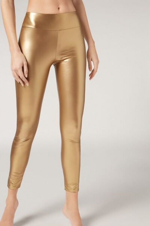 Calzedonia Leather Effect Woman Yellow Size S Legging
