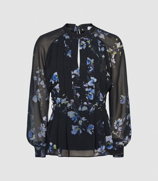 Reiss Robbie - Floral Printed Navy, Womens, Size 4 Blouse