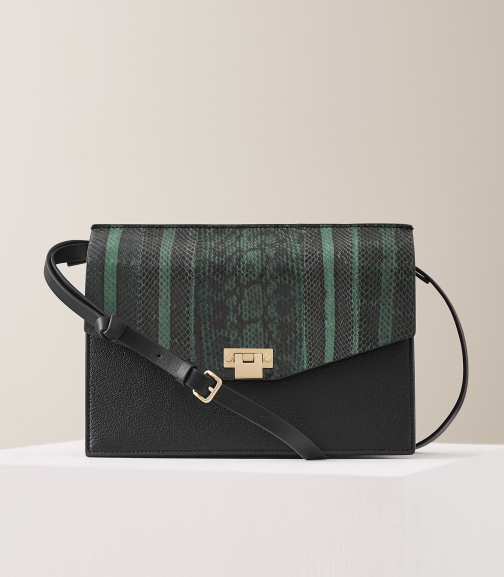 Reiss Conway Snake - Leather Lock Closure Green, Womens Shoulder Bag