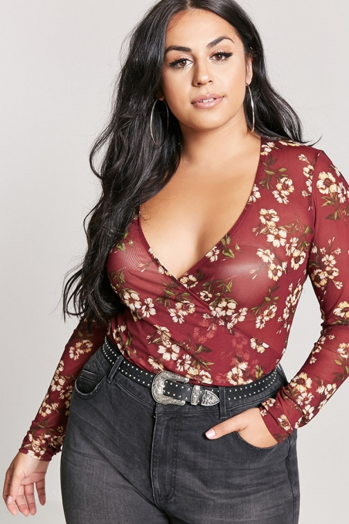 Forever21 Plus Forever 21 Plus Size Mesh Floral , Burgundy/yellow Bodysuit