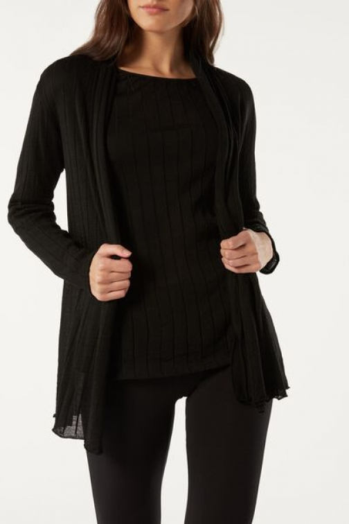 Intimissimi Wool And Silk Ribbed Woman Black Size M Cardigan
