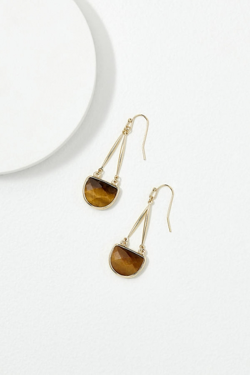 Anthropologie Miane Tiger's Eye-Stone Drop Earring