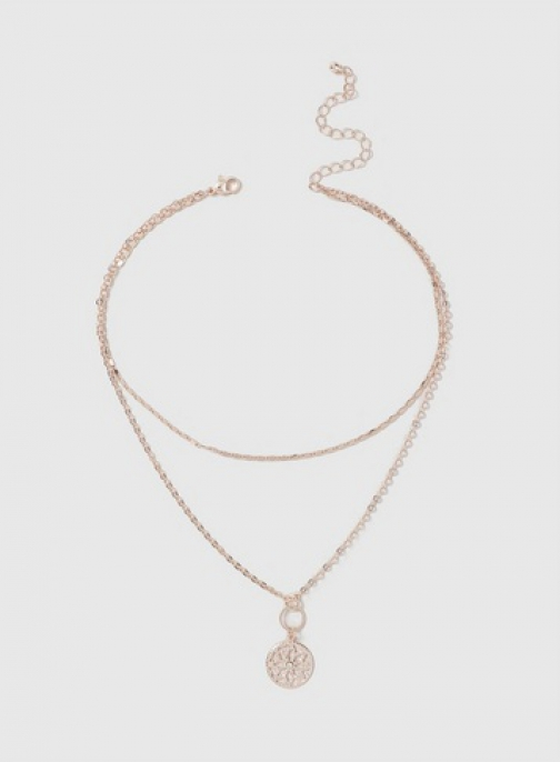 Dorothy Perkins Rose Gold 2 Row Disc Drop Necklace Chokers
