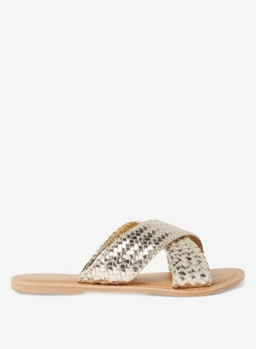 Dorothy Perkins Womens Gold Leather 'Barbados' Mules- Gold, Gold