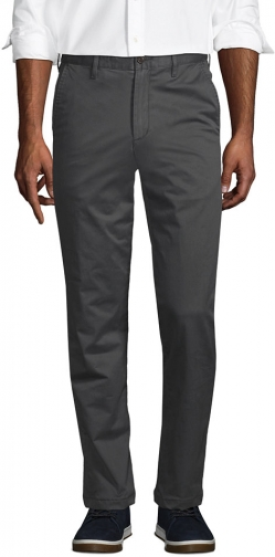 Lands' End Men's Stretch Comfort Waist Flannel Lined Knockabout Pants - Lands' End - Gray - 30 Chino