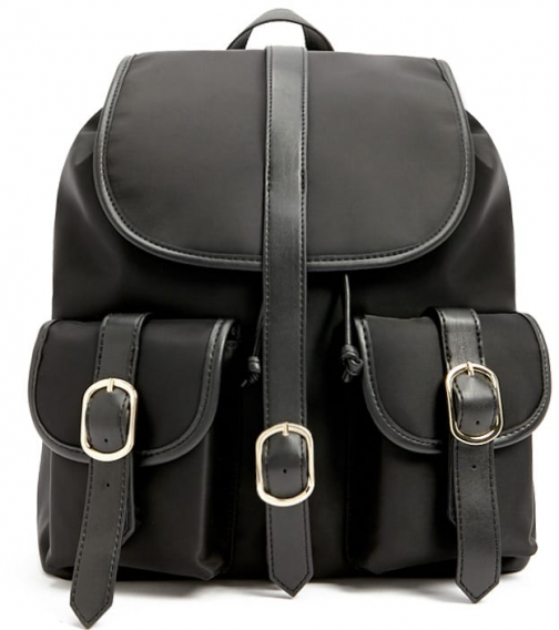 Forever21 Forever 21 Buckle-Strap Drawstring , Black Backpack