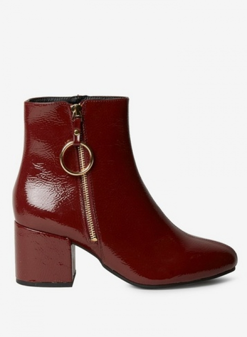 Dorothy Perkins Womens Wide Fit Burgundy 'Amelie' Zip - Red, Red Boot