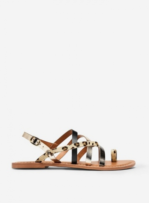 Dorothy Perkins Wide Fit Multi Colour 'Josette' Animal Print Leather Sandals