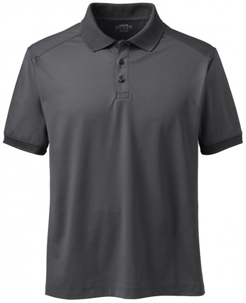 Lands' End Men's Short Sleeve Rapid Dry Active Shirt - Lands' End - Gray - S Polo
