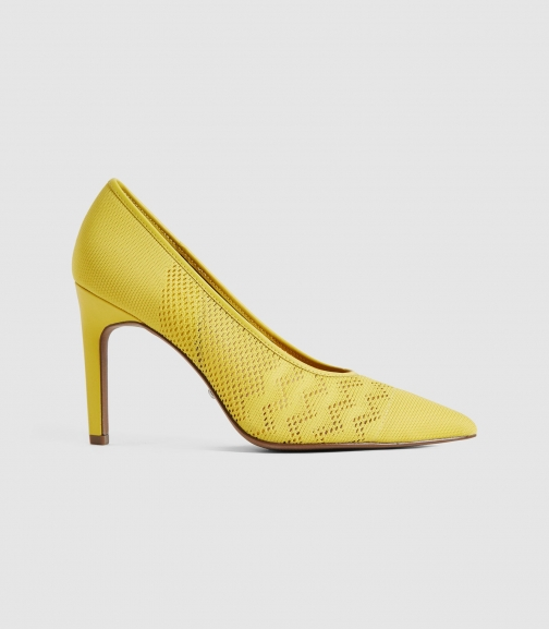 Reiss Zena - Mesh Shoes Yellow, Womens, Size 3 Court