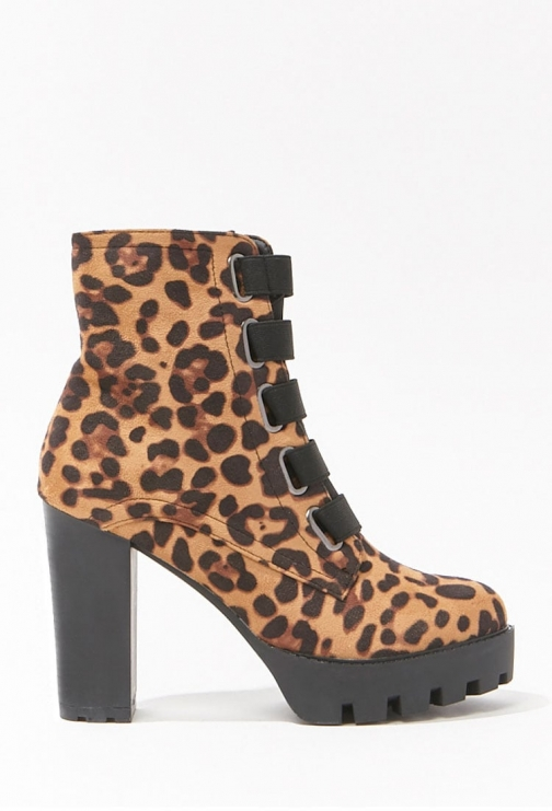Forever21 Forever 21 Leopard Print Block Heel Booties , Black/brown Boot