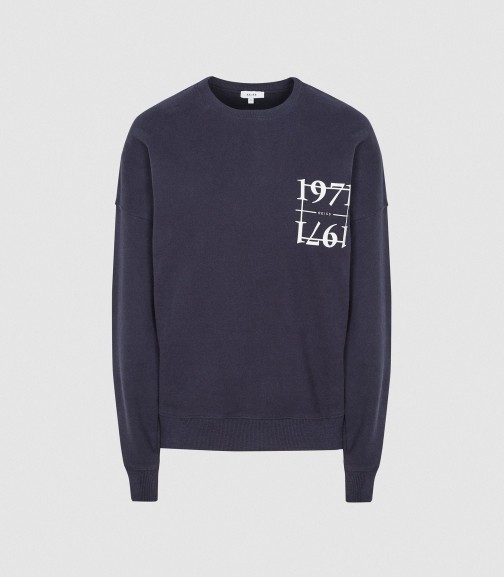 Reiss Leya - 1971 Graphic Loungewear Navy, Womens, Size XS Sweatshirt