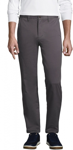 Lands' End Men's Stretch Straight Fit Flannel Lined Knockabout Pants - Lands' End - Gray - 30 Chino