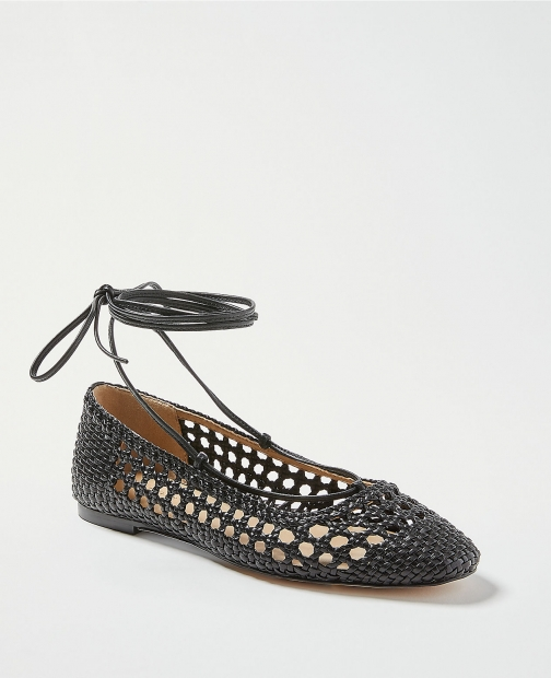 Ann Taylor Lydia Woven Leather Ankle Wrap Flats