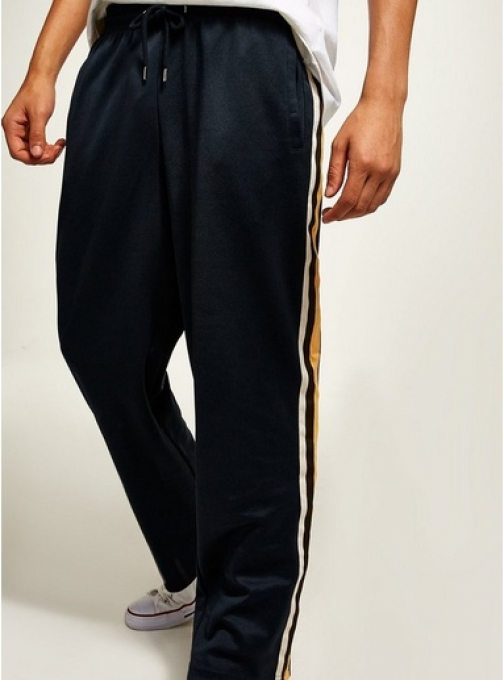 Topman Mens Blue Navy Taping Poly Tricot Joggers, Blue Athletic Pant